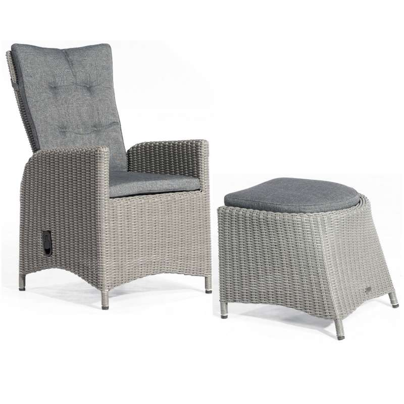 SunnySmart Dining-Sessel Para-Plus mit Fußhocker Aluminium mit Kunststoffgeflecht rustic-vintage Gar