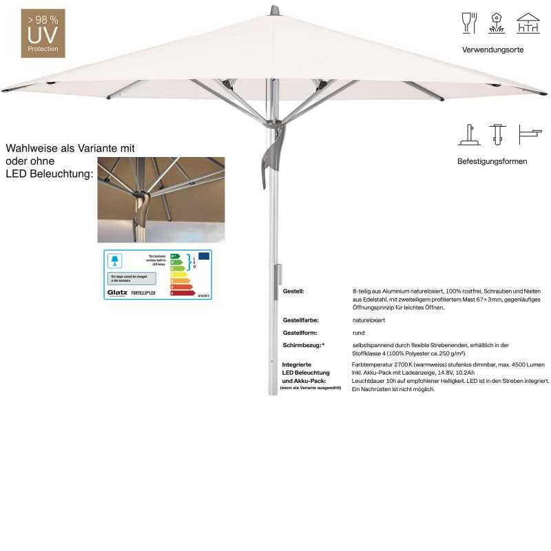 GLATZ Sonnenschirm FORTELLO® / LED rund ø 400 cm Stoffklasse 4 Vanilla 453 Mittelmastschirm