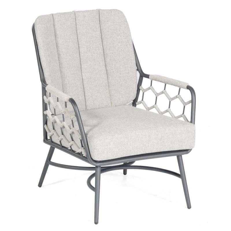 Sonnenpartner Loungesessel Yale Aluminium mit Polyrope silbergrau Relaxsessel Garten-Sessel