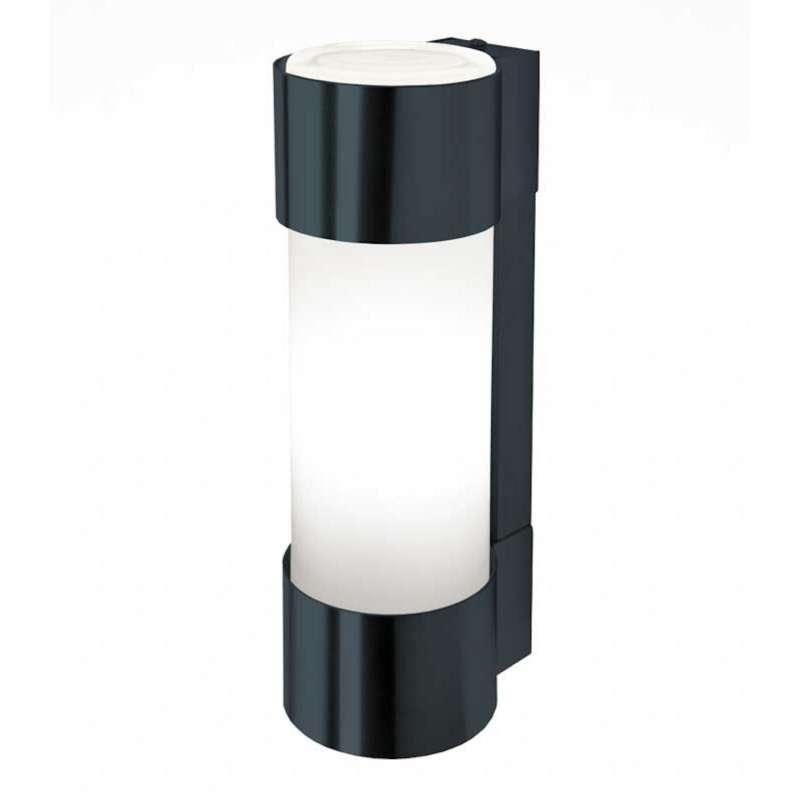 Heibi Wandleuchte NEPTO Edelstahl grau/Opalglas 10x12,5x31,5 cm E27 Außenleuchte Zylinderform