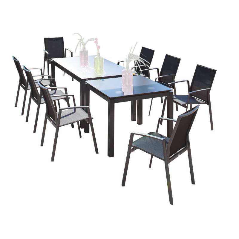 Sonnenpartner 10-teilige Sitzgruppe Fresno & Base 160x90 und 90x90 cm mit 8 Stapelstühlen Aluminium
