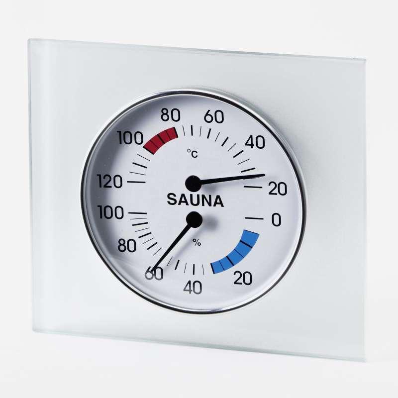 Infraworld Klimamesser mit Glasrahmen Saunazubehör Saunamessgerät S2288