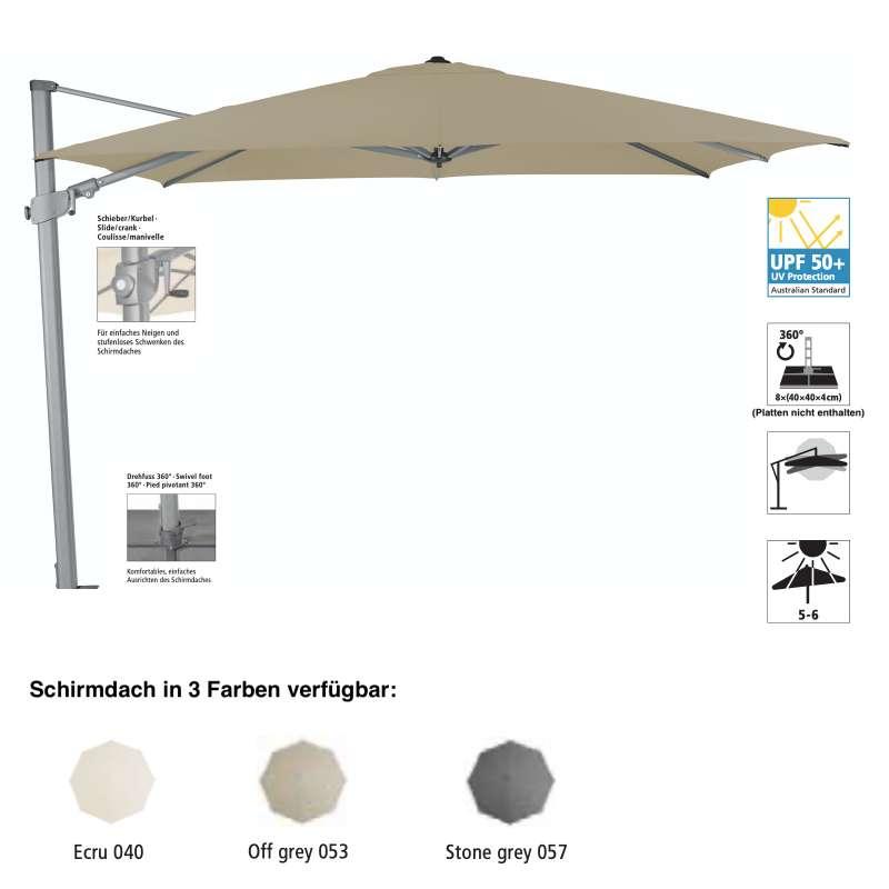 Sonnenschirm SUNCOMFORT® by Glatz Varioflex 330 x 270 cm in 3 Farbvarianten