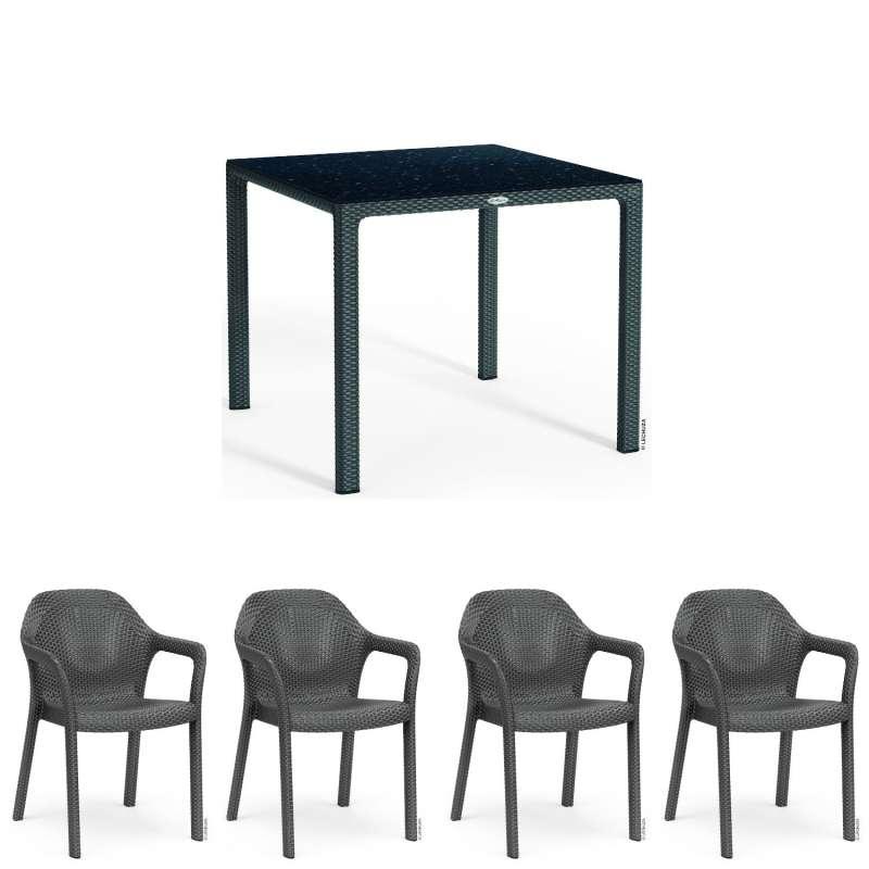 Lechuza 5-teilige Sitzgruppe Flechtstruktur granit Gartentisch HPL 90x90 cm 4 Stapelstühle