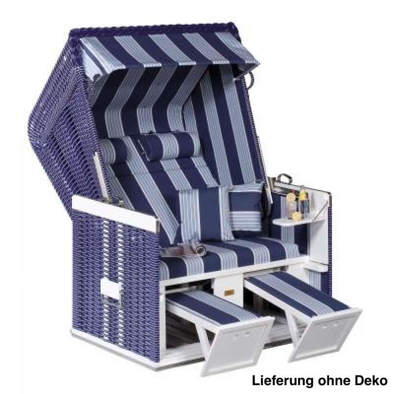Sonnenpartner Strandkorb Konsul 2 Sitzer Halbliegemodell blau weiß