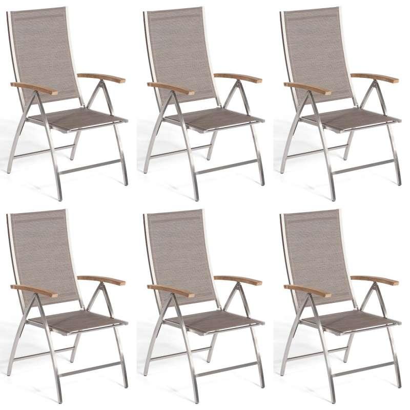 Sonnenpartner 6er-Set Klappsessel Paragon Edelstahl mit Textilen taupe Klapp-Sessel Klappstuhl