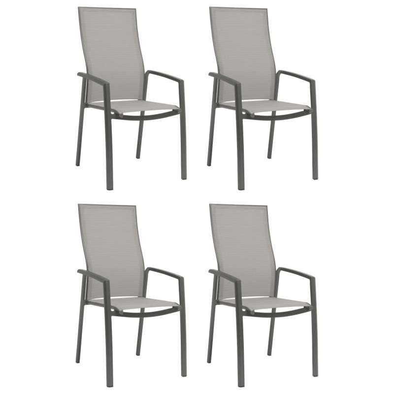 Stern 4er-Set Stapelsessel Kari Aluminium anthrazit/Textilen silber hohe Rückenlehne Gartenstuhl Sta