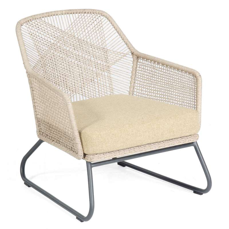 Sonnenpartner Loungesessel Couture Aluminium mit Polyrope white-shell Relaxsessel Garten-Sessel