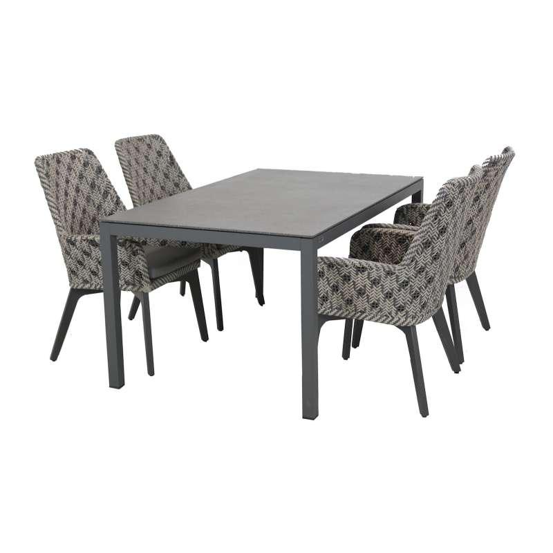 4Seasons Outdoor 5-teilige Sitzgruppe Savoy Stühle mit Esstisch Spraystoneplatte