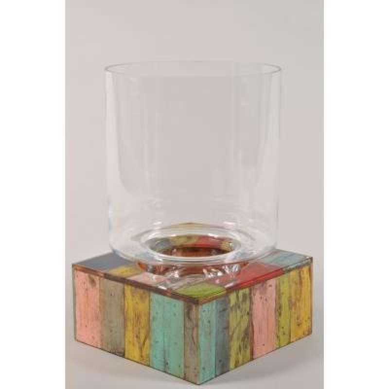 Schlittler 45232 Windlicht Glas rund auf Teakholzsockel