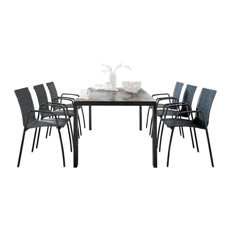 SIT Mobilia 7-teilige Sitzgruppe Olympia Oslo & Tinto Edelstahl schwarz verchromt Tisch 210/280x95 c