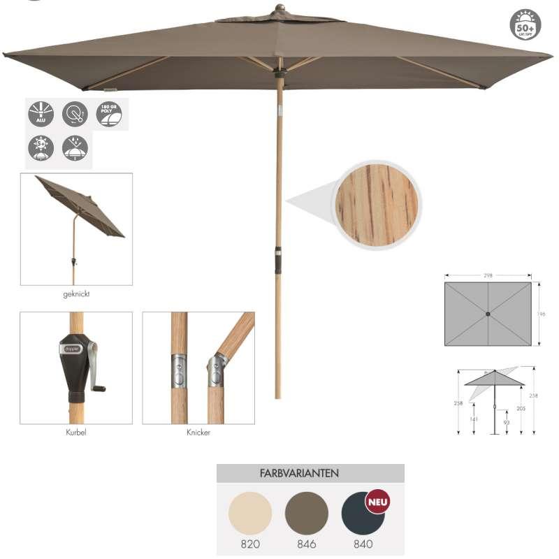 Doppler Alu Wood 200 x 300 cm Marktschirm Holzoptik Sonnenschirm rund 3 Farben Mittelmastschirm