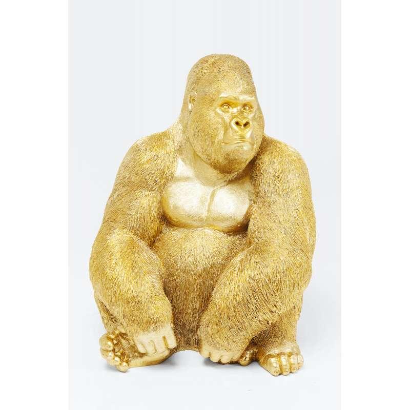 KARE Design hochwertige Deko Figur Monkey Gorilla Side XL Gold 76 x 60 x 55 cm 61445