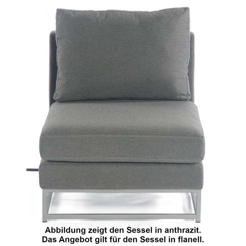 Sonnenpartner Lounge-Mittelmodul Unique Aluminium mit Kissen flanell Loungesessel Sunbrella