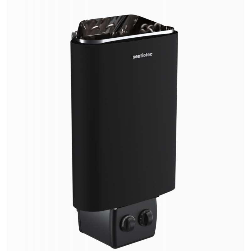 Sentiotec 100 Saunaofen 3,6 kW mit Steuerung Elektro Ofen Saunaheizgerät black