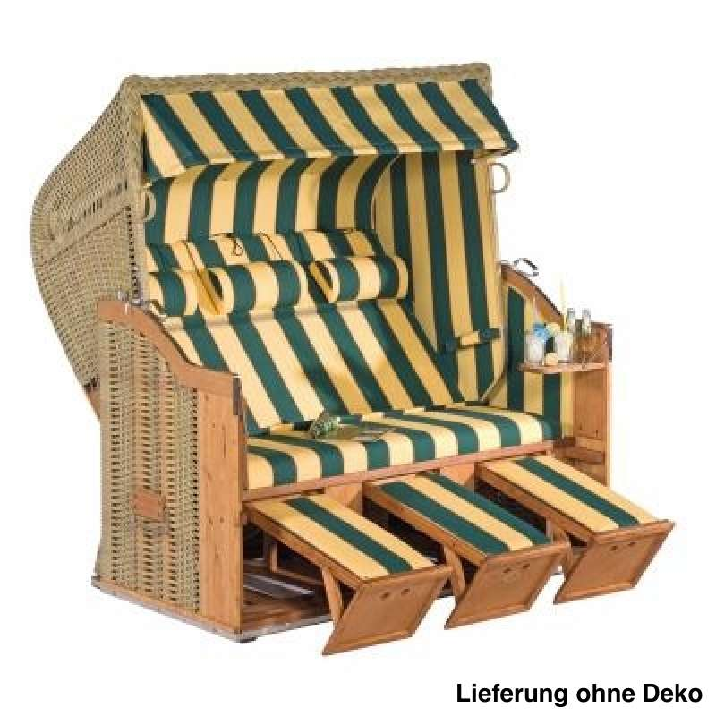 Sonnenpartner Strandkorb Classic 3 Sitzer Halbliegemodell gelb grün