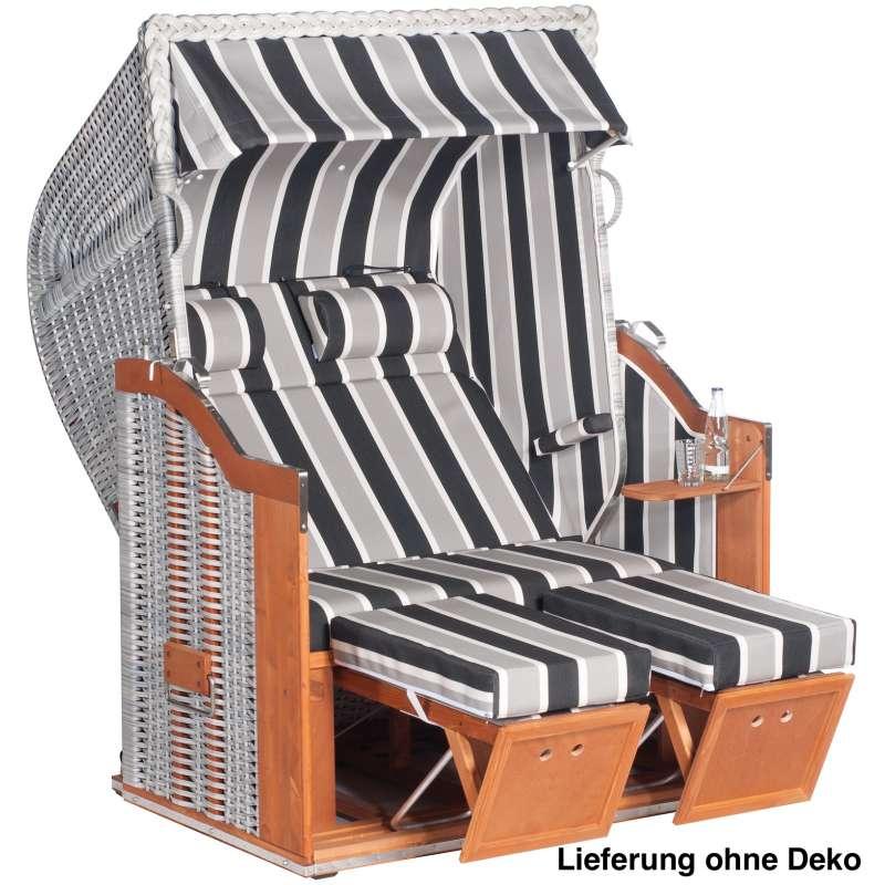 Sonnenpartner Strandkorb Classic 2 Sitzer Halbliegemodell inkl Ausstattung white
