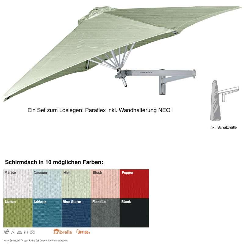 Umbrosa Paraflex ø 270 cm Wandschirm SET inkl. Halterung NEO Sonnenschirm 10 Farbvarianten