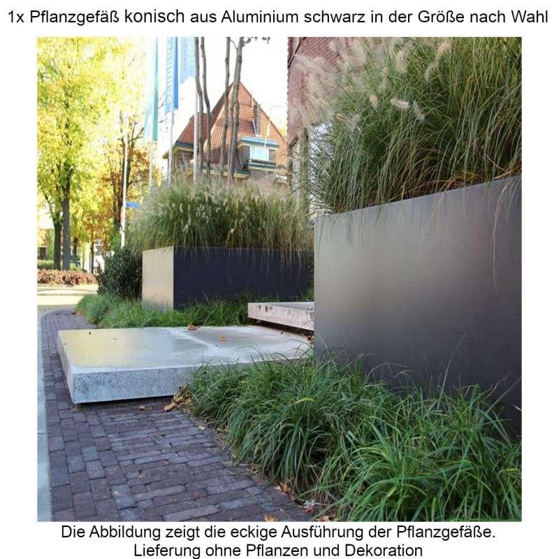 Mecondo Pflanzgefäß konisch aus Aluminium schwarzgrau RAL 7021 Größe nach Wahl Blumenkübel