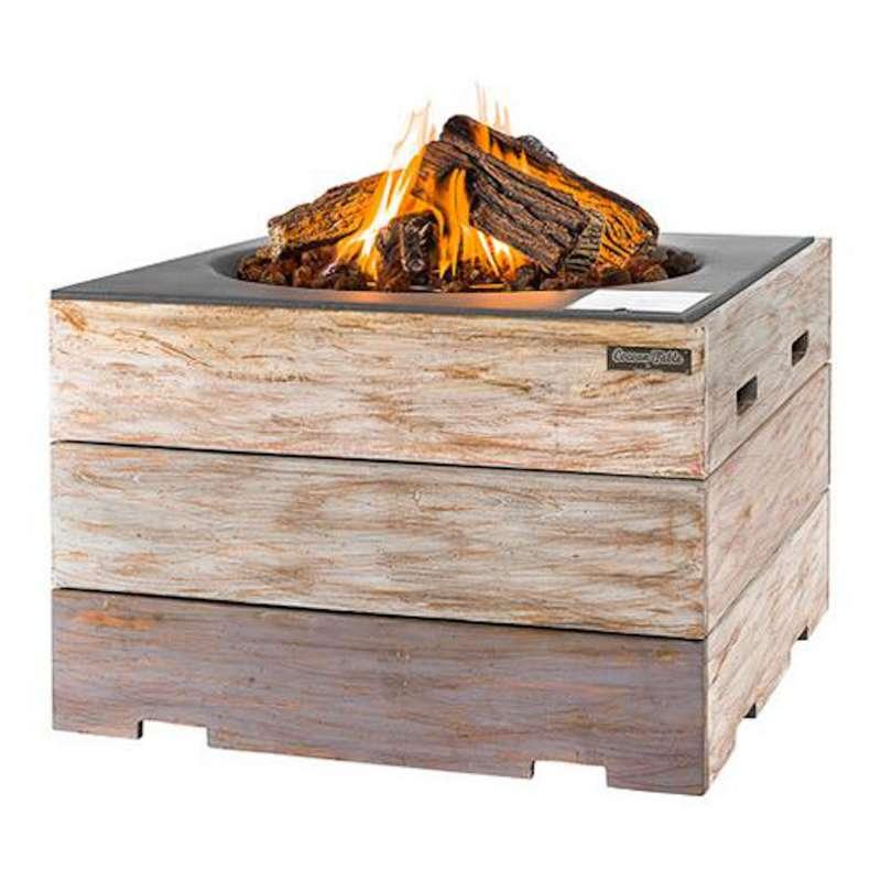 Happy Cocooning Mania Feuertisch 19,5 kW quadratisch groß 76x76x46 cm Teakholz Nice&Nasty/grau