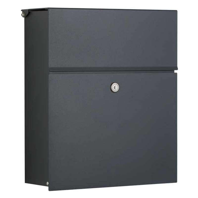 Heibi Briefkasten CALMALUX Aluminium grau RAL 7016 mit Zeitungsfach 38,5x14x43,5 cm DIN C4 quer