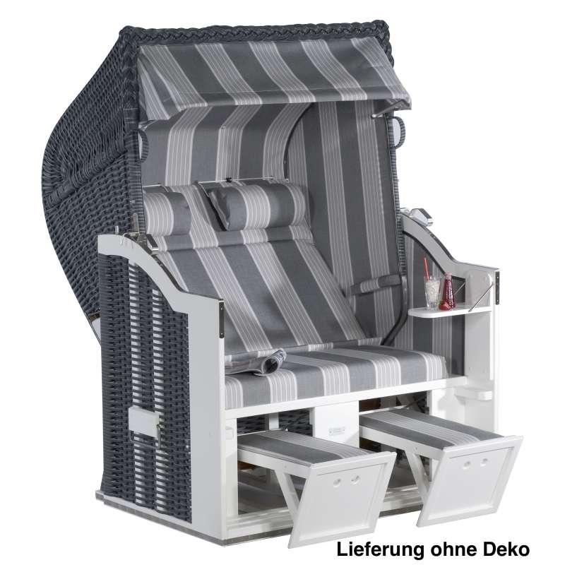 Sonnenpartner Strandkorb Classic 2 Sitzer Halbliegemodell onix grau