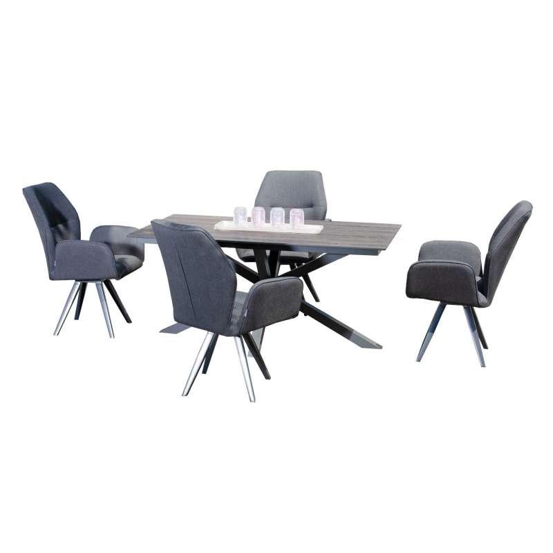 Sonnenpartner 5-teilige Sitzgruppe Mythos & Base-Spectra diagonal 160x90 cm mit 4 Dreh-Sesseln Alumi