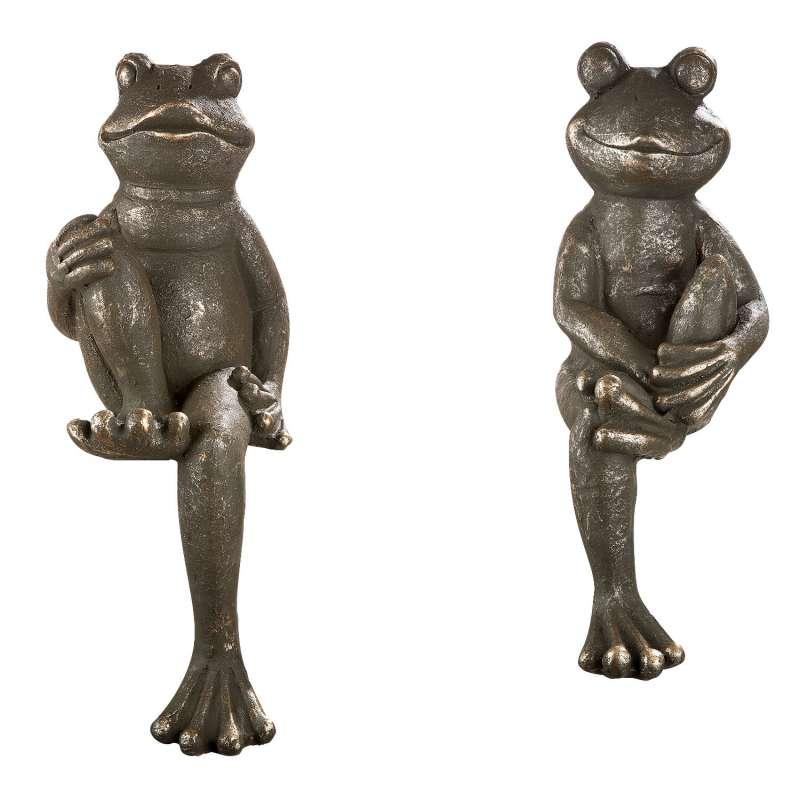 Casablanca 2er-Set Figuren Frosch Kantensitzer Magnesia grün/grau Dekoration Outdoor-geeignet