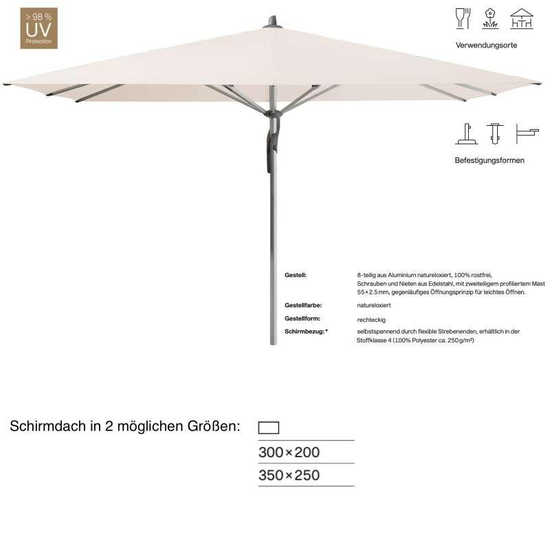 GLATZ Sonnenschirm FORTERO® rechteckig 300 x 200 / 350 x 250 cm Stoffklasse 4 Vanilla 453 Mittelstoc