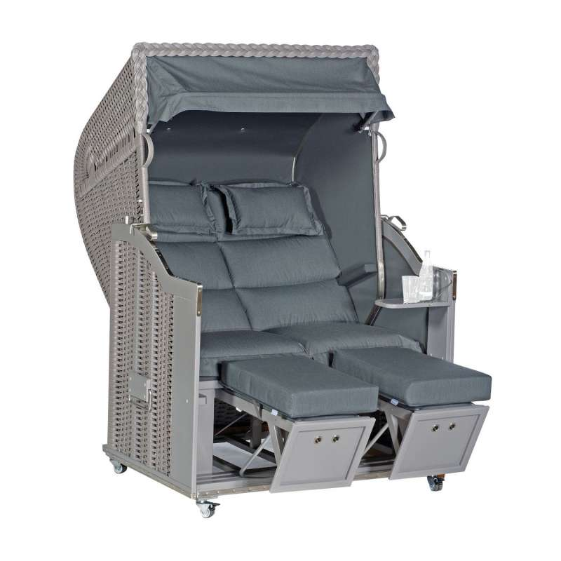 Sonnenpartner Strandkorb Classic Duo-Style 2-Sitzer Halbliegemodell taupe/charcoal mit Sonderausstat