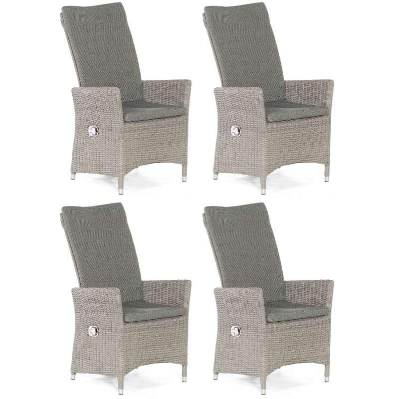 Sonnenpartner 4er-Set Garten-Sessel Solares Aluminium mit Polyrattan stone-grey Gartenstuhl Hochlehn