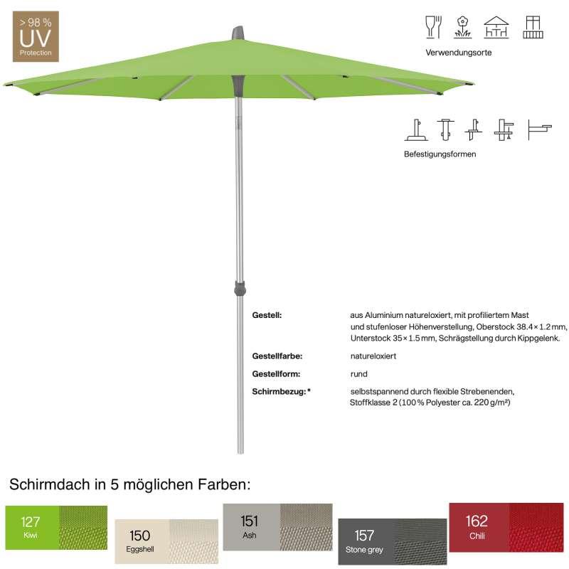 GLATZ Sonnenschirm ALU-SMART easy rund ø 220 cm in 5 Farben Stoffklasse 2 Mittelstock