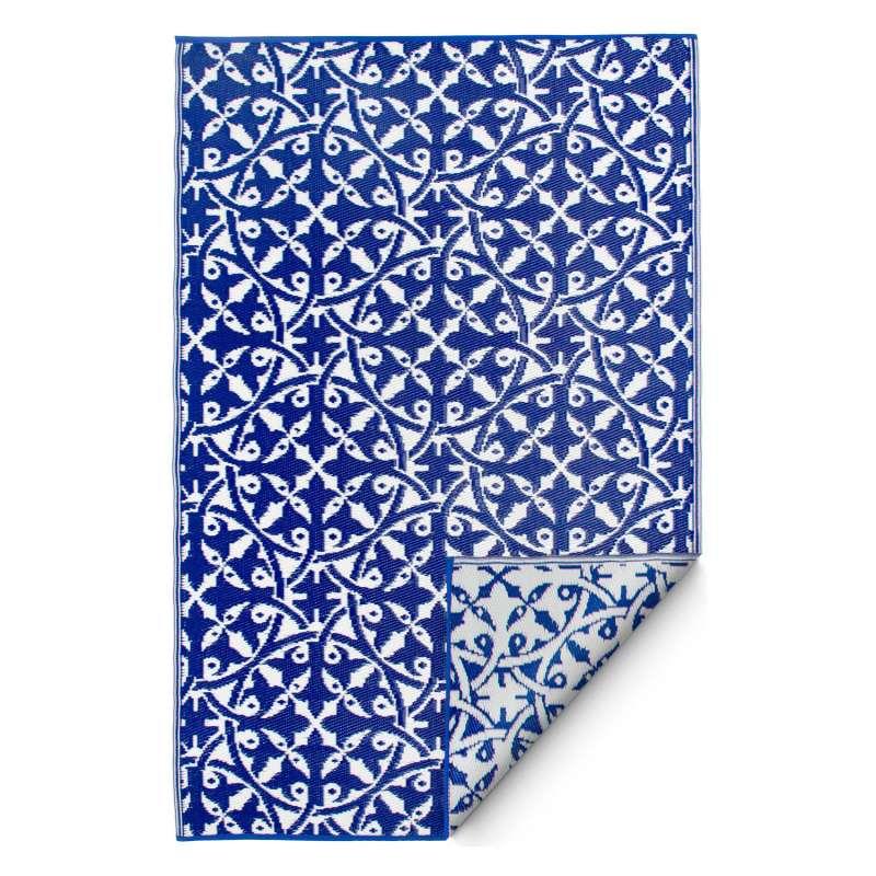 Fab Hab Outdoorteppich San Juan Dark Blue aus recyceltem Plastik blau/weiß wetterfest 120x180 cm