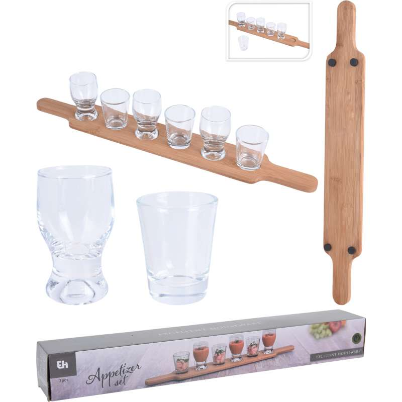 Servierbrett aus Holz mit 6 Gläsern Set für Getränke, Vorspeisen, Vorspeisen, Amuse-Bouche und Hors
