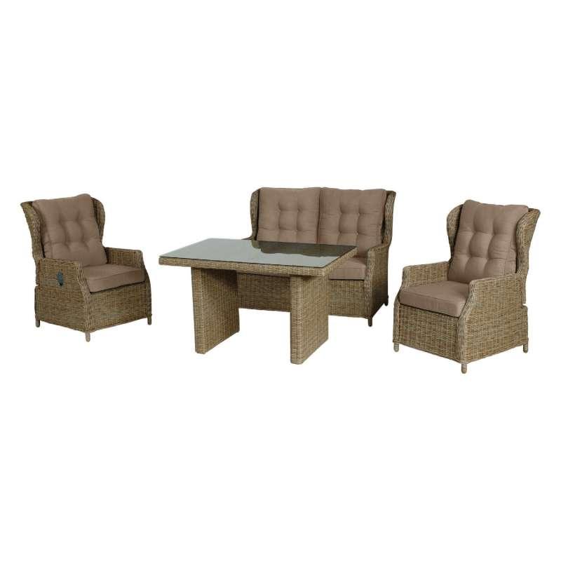 Inko Lounge Leona 1 Tisch 1 Bank 2 Sessel Alu-Geflecht TF 380 zwei Farben wählbar
