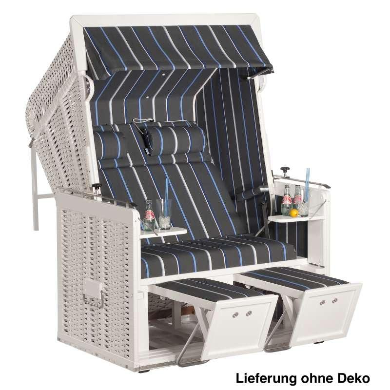Sonnenpartner Strandkorb Präsident Alu 2-Sitzer Liegemodell weiß/anthrazit/blau mit 2 Nackenrollen