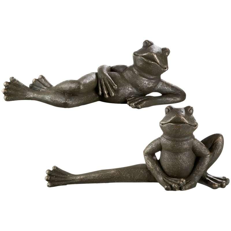 Casablanca 2er-Set Figuren Frosch liegend Magnesia dunkelgrün/goldfarben Dekoration Outdoor