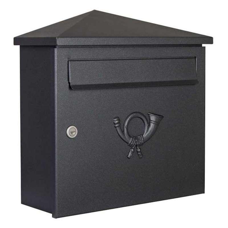 Heibi Briefkasten PINA Stahl pulverbeschichtet graphitgrau DIN C4 quer Posthorn