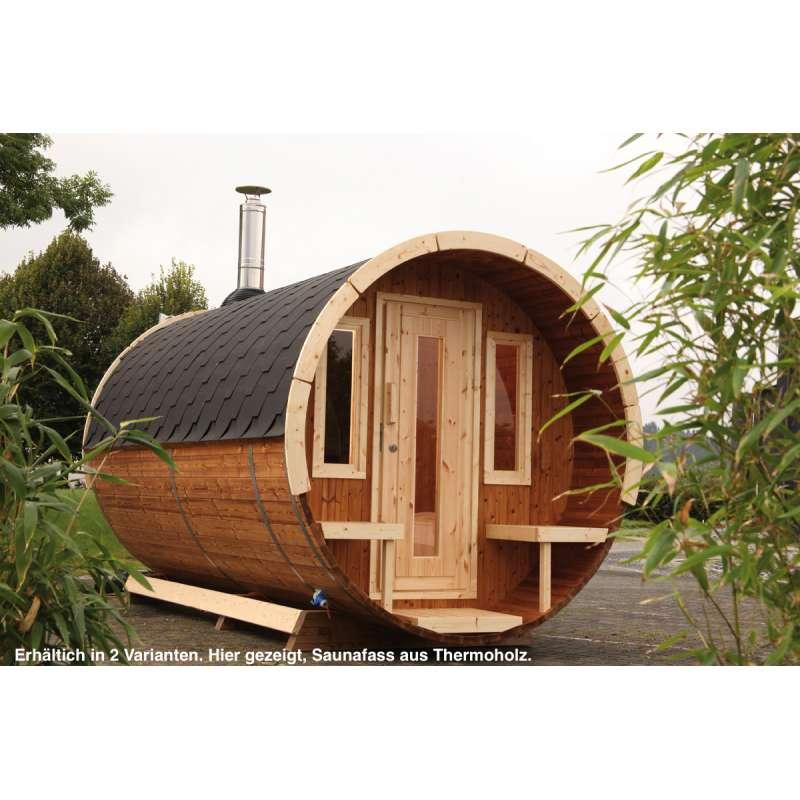 WOLFF FINNHAUS Saunafass 280 de Luxe naturbelassen Gartensauna Außensauna
