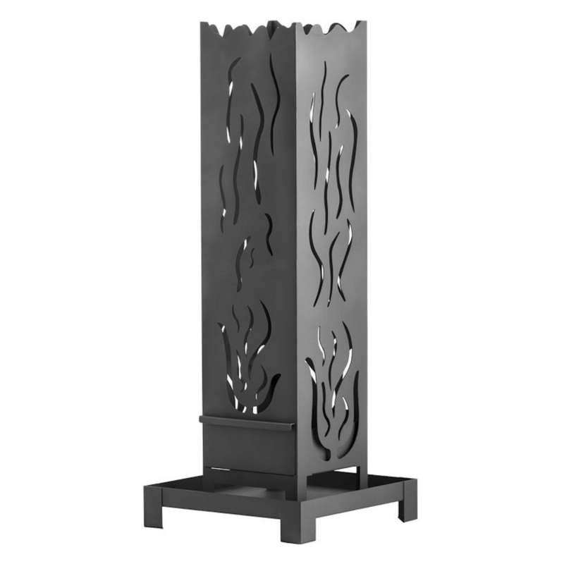 Heibi Feuersäule Motiv Flammen/Feuer Stahlblech 40x40x107 cm metallgrau Gartenfackel