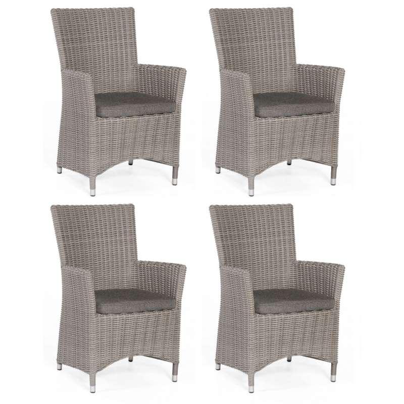Sonnenpartner 4er-Set Garten-Sessel Ikarus Aluminium mit Polyrattan stone-grey Gartenstuhl