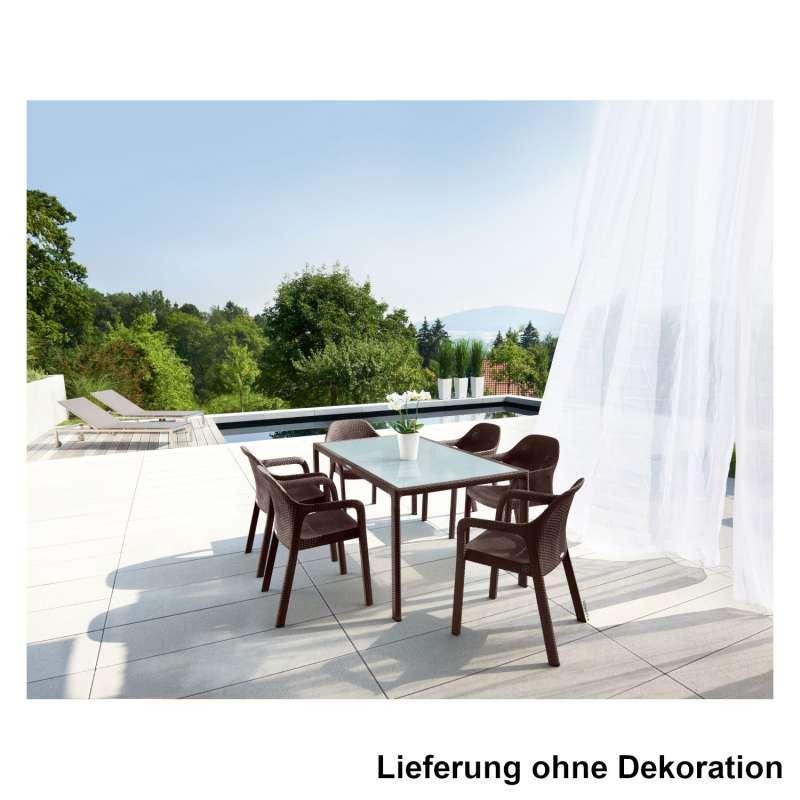 Lechuza 7-teilige Sitzgruppe Flechtstruktur mokka Gartentisch Glasplatte 160x90 cm 6 Stapelstühle