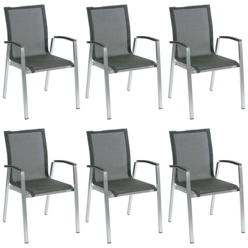 Inko 6er-Set Stapelsessel Ancona 56,5x63x89 cm Aluminium gebürstet/Textilene dark grey Stapelstuhl