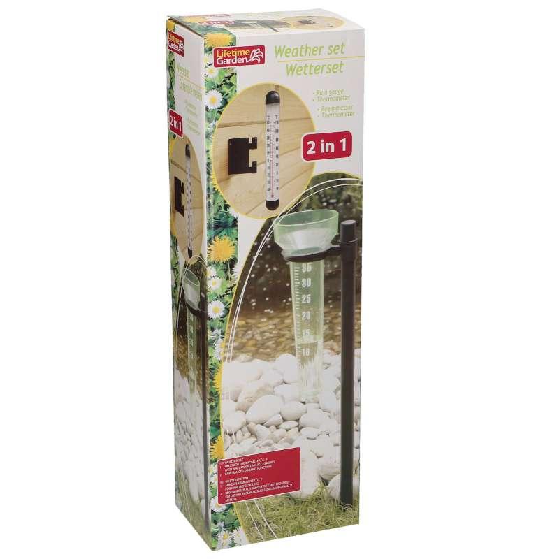 Wetterstation 2 in 1 Gartenthermometer Wetterset Regenmesser Außenthermometer