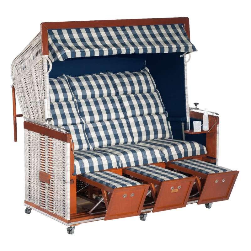 Sonnenpartner Strandkorb Präsident Duo-Style 3-Sitzer Liegemodell antikweiß/kent blau