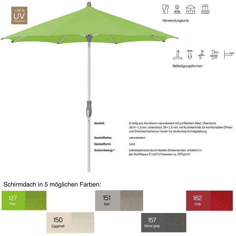 GLATZ Sonnenschirm ALU-TWIST easy rund ø 300 cm in 5 Farben Stoffklasse 2 Mittelstock