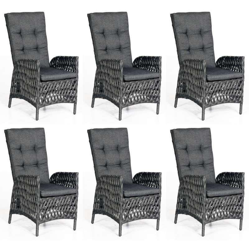 SunnySmart 6er Set Dining-Sessel Para-Basic Aluminium mit Polyrope metallic schwarz Gartenstuhl