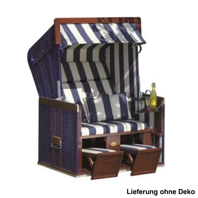 Sonnenpartner Strandkorb Senator 2 Sitzer Halbliegemodell blau weiß