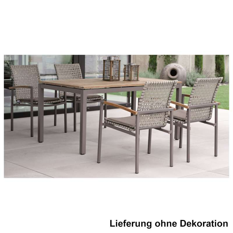 Stern 5-teilige Sitzgruppe Lucy & Teakholz-Tisch 160x90 cm Stapelstuhl Old Teak