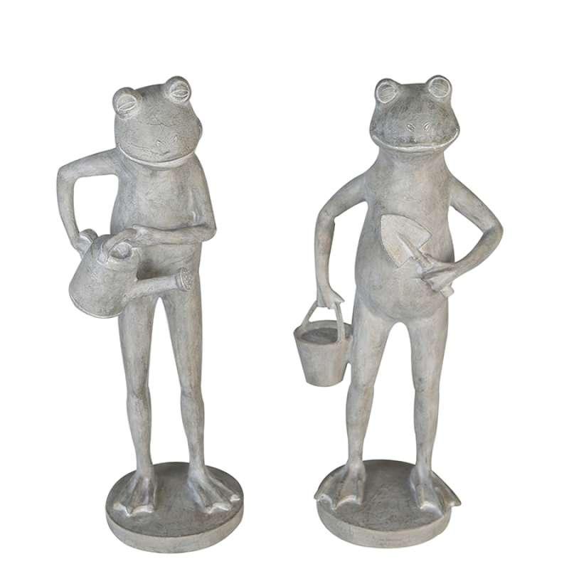 Casablanca 2er Set Figuren Frösche Dekoration grau Outdoor-geeignet Frosch